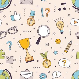 Modernes nahtloses muster mit puzzle, konkurrenz bei der beantwortung von quizfragen oder intellektuellen spielelementen.