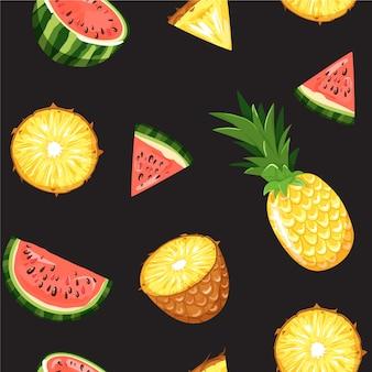 Modernes nahtloses muster mit tropischen früchten.