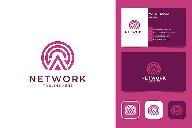 Modernes netzwerk-logo-design und visitenkarte