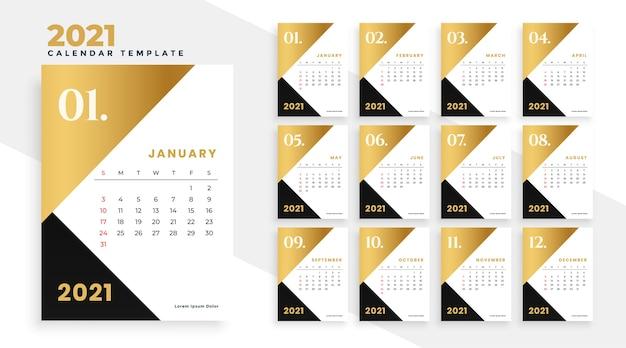 Modernes neujahrskalenderdesign 2021 in gold und schwarz