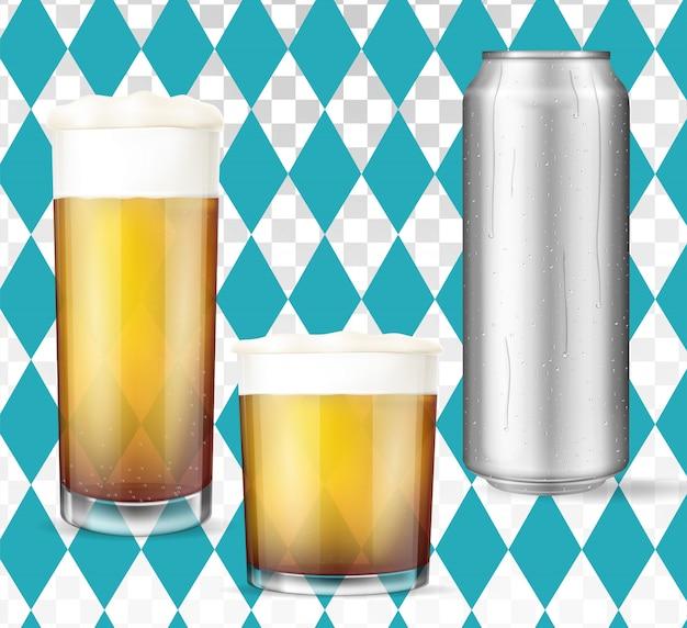 Modernes oktoberfest-konzept. bier eingestellt.