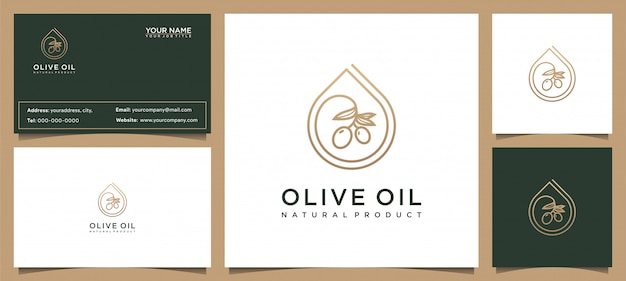 Modernes olivenöl-logo-design und visitenkarte