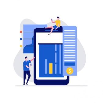 Modernes online-banking-konzept mit charakteren. elektronische zahlung.
