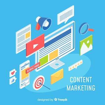 Modernes online-marketing-konzept mit isometrischer ansicht