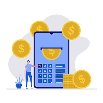 Modernes online-zahlungskonzept mit charakter. ein mann, der ein smartphone benutzt, um geld zu überweisen.