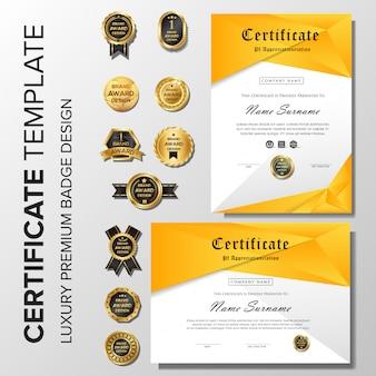 Modernes orange zertifikat mit abzeichen