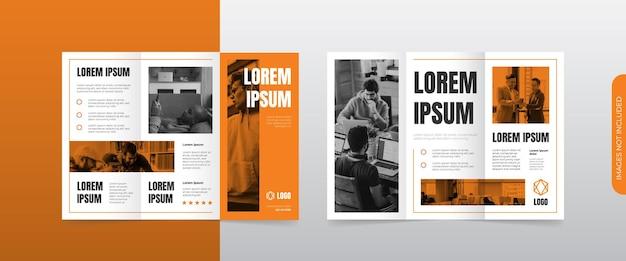 Modernes orangefarbenes dreifach gefaltetes broschürenlayout