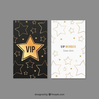 Modernes paket von goldenen vip-karten mit sternen