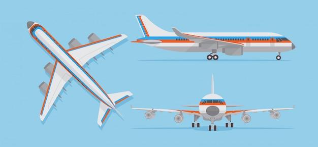 Modernes passagierflugzeug, verkehrsflugzeug in der spitzen-, seiten-, vorderansicht. flugzeuge im flachen stil