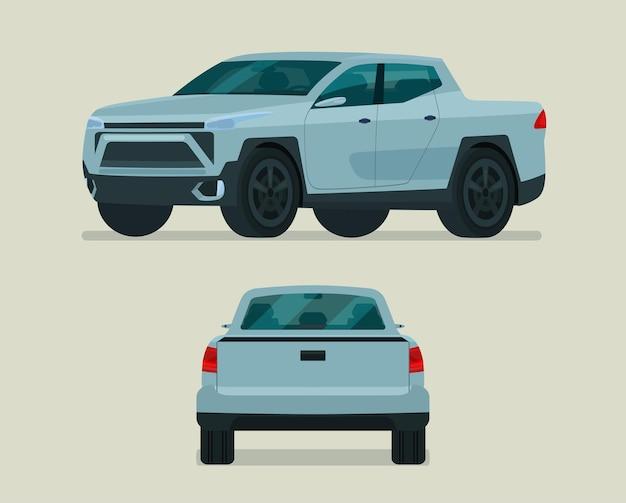 Modernes pickup-set. pickup mit seiten- und rückansicht.