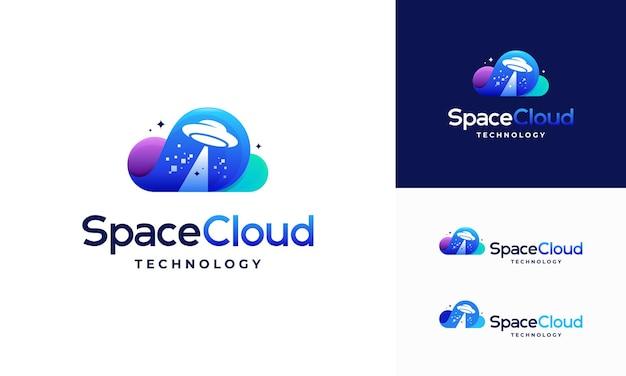 Modernes pixel cloud logo entwirft konzeptvektor, cloud tech logo vorlage, space cloud technology logo symbol symbol vorlage