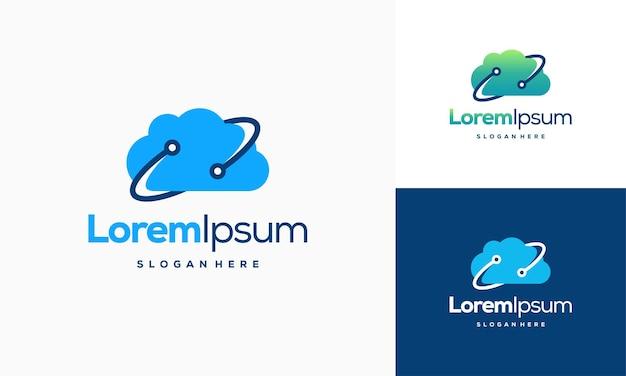 Modernes pixel cloud-logo entwirft konzeptvektor, cloud tech-logo-vorlage, technologie-logo-symbol-symbol-vorlage