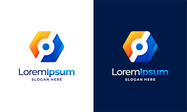 Modernes pixel-technologie-logo entwirft konzeptvektor, netzwerk-internet-logo-symbol