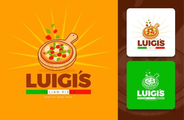 Modernes pizzeria-logo-konzept im vektor