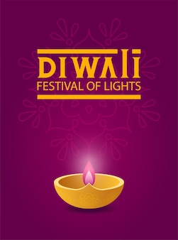 Modernes plakat für diwali festival der lichter mit diya öllampe auf dem hintergrund lila rangoli