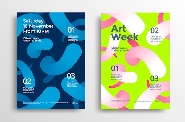 Modernes plakatset der kunstwoche mit lebendigen verlaufsformen.