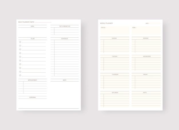 Modernes planer-vorlagenset set aus planer und aufgabenliste tages- und wochenplaner-vorlage