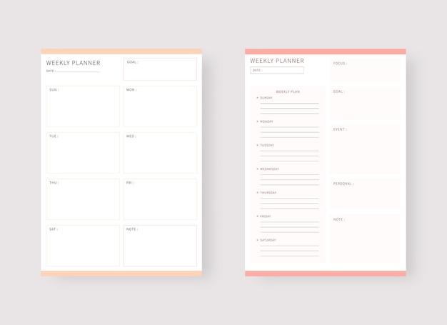 Modernes planer-vorlagenset set aus planer und aufgabenliste wochenplaner-vorlage
