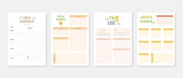 Modernes planer-vorlagenset set aus planer und aufgabenliste