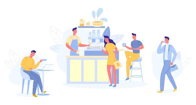 Modernes platz-interieur zum treffen, trinken und essen, chatten