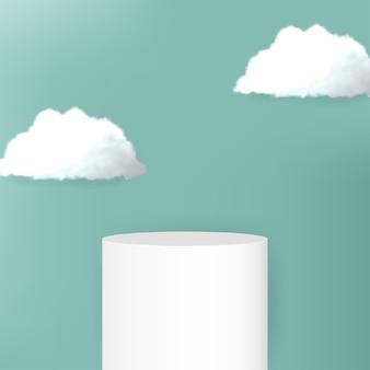Modernes podium mit weißen wolken