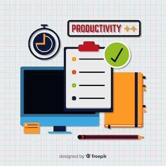 Modernes produktivitätskonzept mit flachem design
