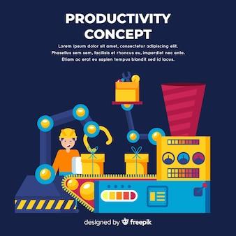 Modernes produktivitätskonzept mit flacher bauform