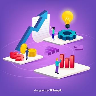Modernes produktivitätskonzept mit isometrischer ansicht