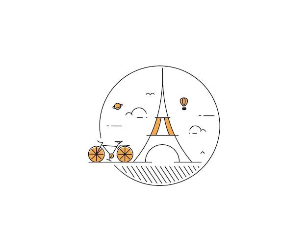 Modernes radfahren flat line art zeichnung vektor-illustration