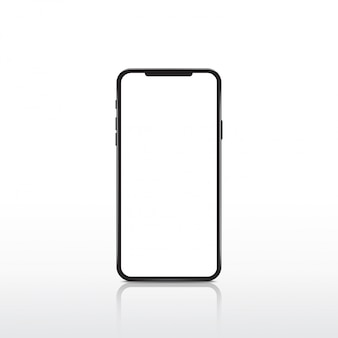 Modernes realistisches weißes bildschirm-smartphone.