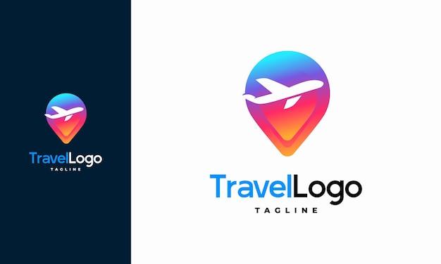 Modernes reiselogo entwirft konzept, reisepunktlogo mit flugzeugsymbolschablone