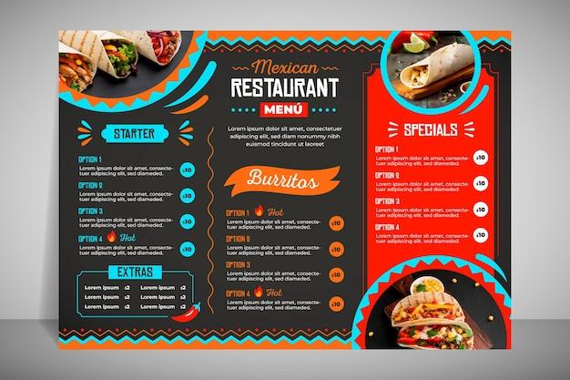 Modernes restaurantmenü für taco