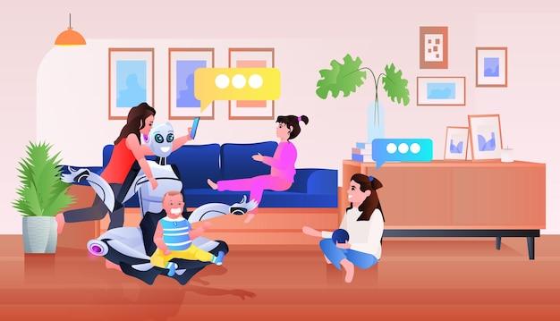 Modernes roboter-kindermädchen, das zeit mit babysitter-konzept der künstlichen intelligenz für kinder verbringt