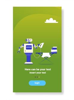 Modernes robotereisen kleidet futuristisches assistentenhaushaltungstechnologiekonzept der künstlichen intelligenz