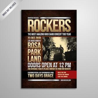 Modernes rockmusik-festival-plakat