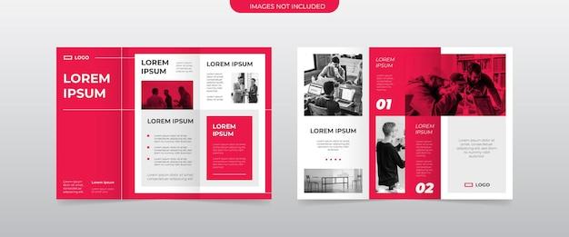Modernes rotes dreifach gefaltetes broschürenlayout