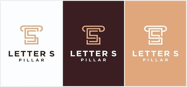 Modernes säulenlogo, designvorlage für das logo der rechtsjustizsäule. anwaltslogo mit säulenillustration