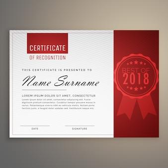 Modernes, sauberes rotes und weißes zertifikatdesign