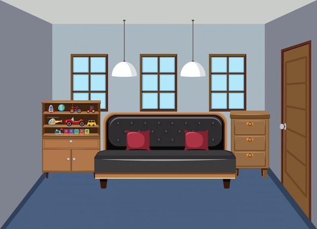 Modernes schlafzimmer des innenods