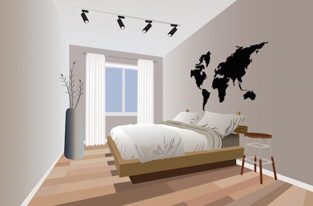 Modernes schlafzimmer im minimalistischen design mit blumen und lichtern