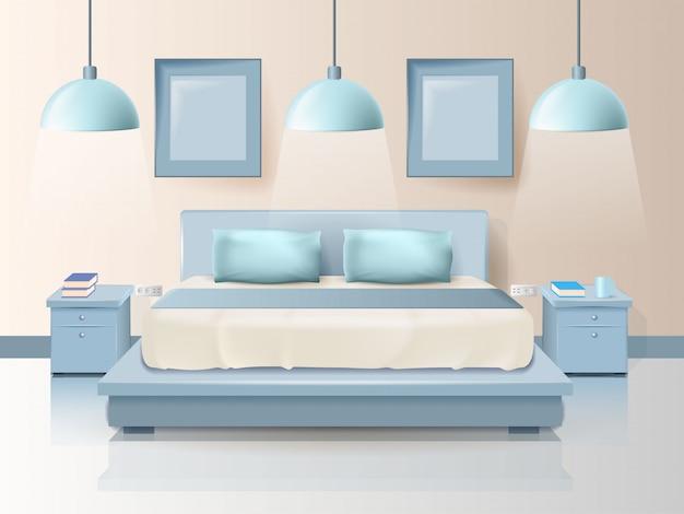 Modernes schlafzimmerdesign mit modischer beleuchtungskarikatur