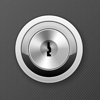 Modernes schlüsselloch - türschlosssymbol, flaches schlüsselloch, zugangskonzept für bankzellen