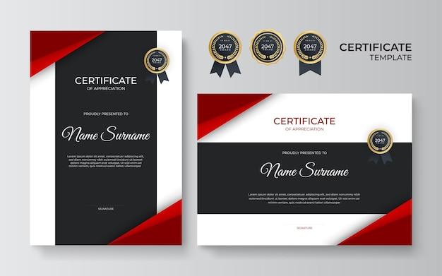 Modernes schwarz-rotes zertifikat