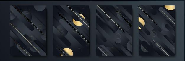 Modernes schwarzes goldstreifen-abdeckungsdesign-hintergrundset. luxuriöses kreatives goldenes dynamisches diagonales linienmuster. formaler premium-vektorhintergrund für geschäftsbroschüre, poster, notizbuch, menüvorlage