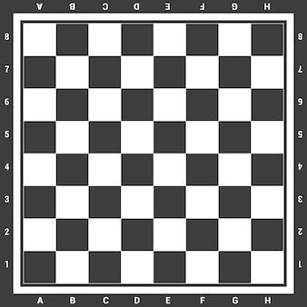 Modernes schwarzes schachbrett mit buchstaben und zahlenhintergrunddesign-vektorillustration.