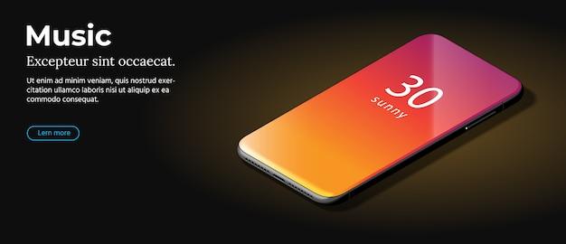 Modernes schwarzes smartphone liegt auf einer glatten dunkelbraunen oberfläche.