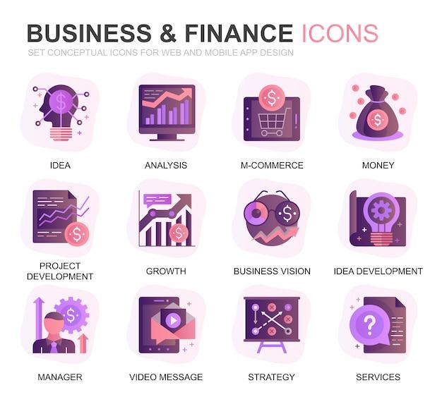 Modernes set business und finanzen farbverlauf flache symbole