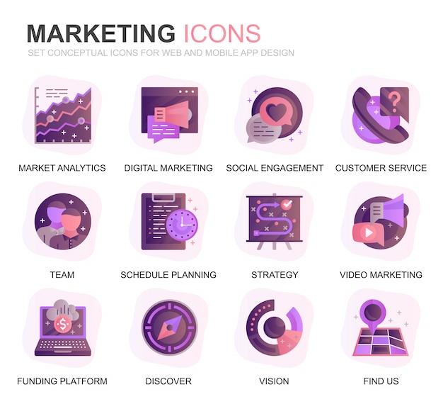Modernes set business und marketing farbverlauf flache symbole