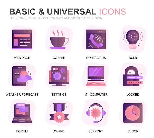 Modernes set grundlegende farbverlauf flache symbole