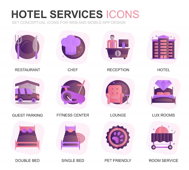Modernes set hotel service farbverlauf flache symbole